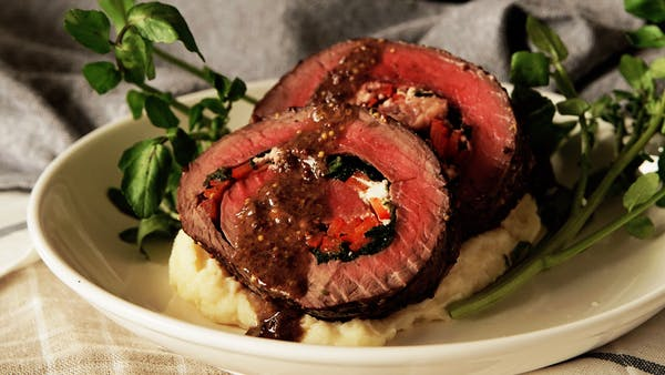 Rolled Roast Beef with Herb Butter ~ Recipe