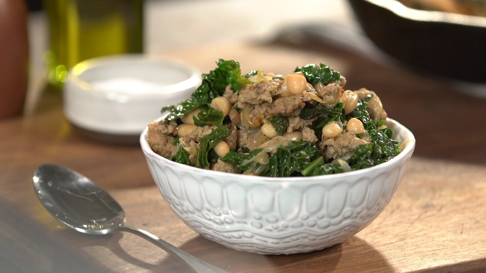 Spicy Kale with Turkey Sausage and White Beans ~ Recipe | Tastemade