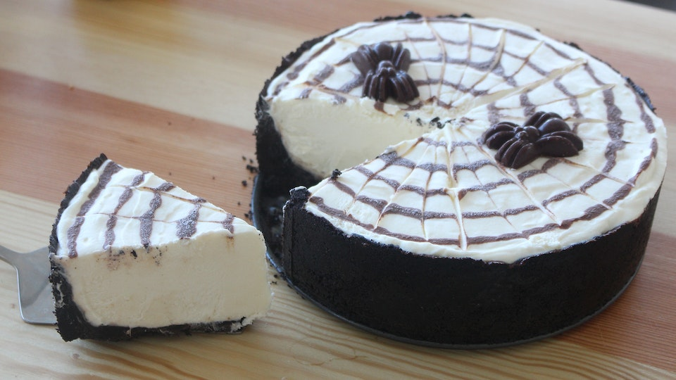 No-Bake Spiderweb Cheesecake ~ Recipe | Tastemade