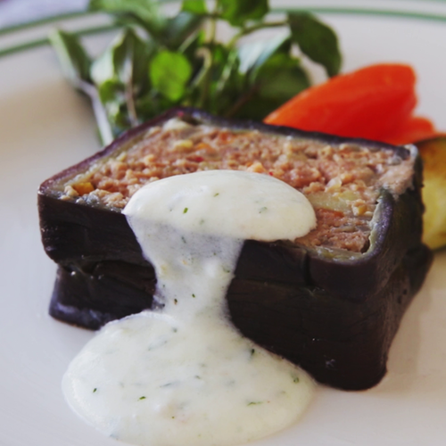 Eggplant Moussaka With Yogurt Sauce ~ Recipe