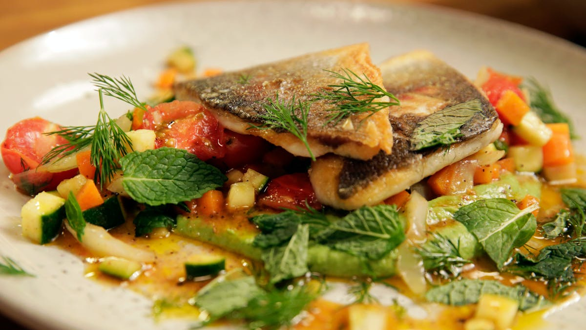 Pan Seared Branzino with Sweet Pea Puree and Crunchy Vegetables  Image