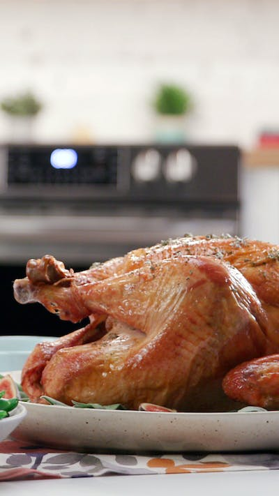 Herb-Crusted Air Fried Turkey With Apple Cider Gravy