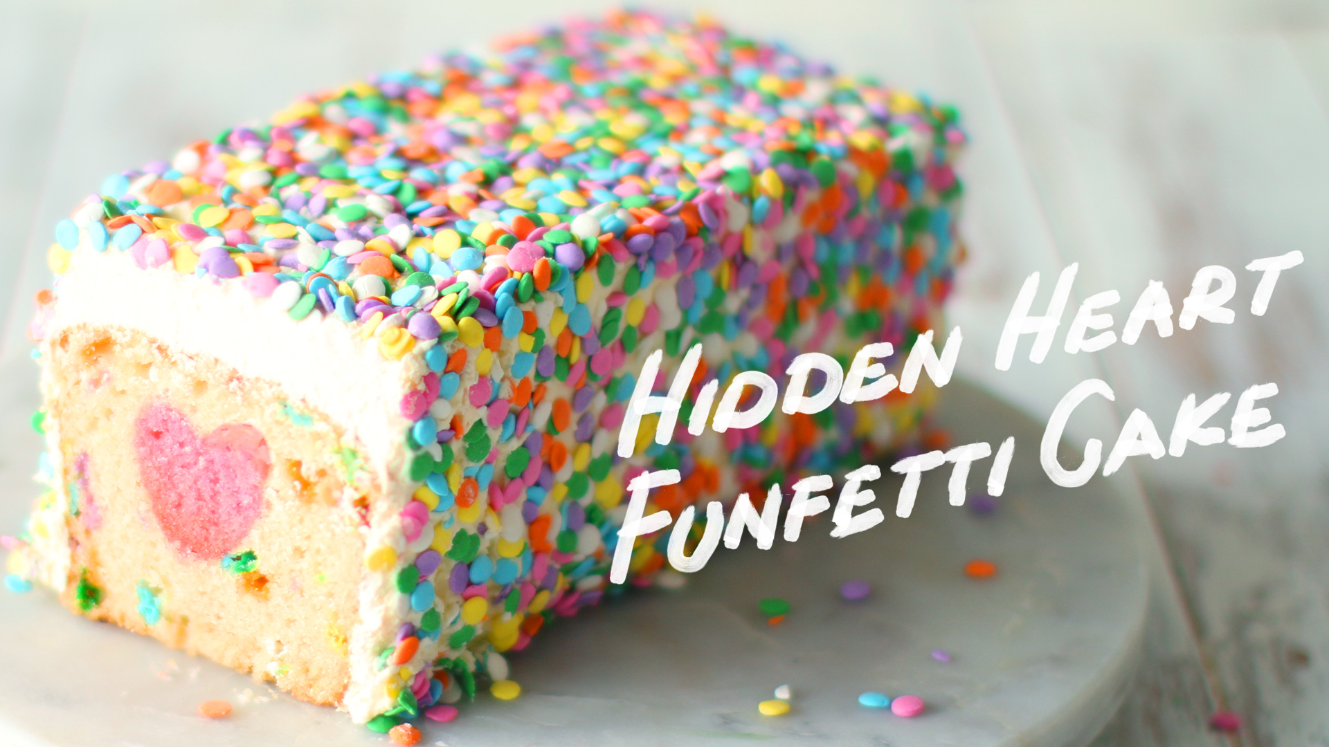 hidden heart funfetti cake ~ the scran line | tastemade