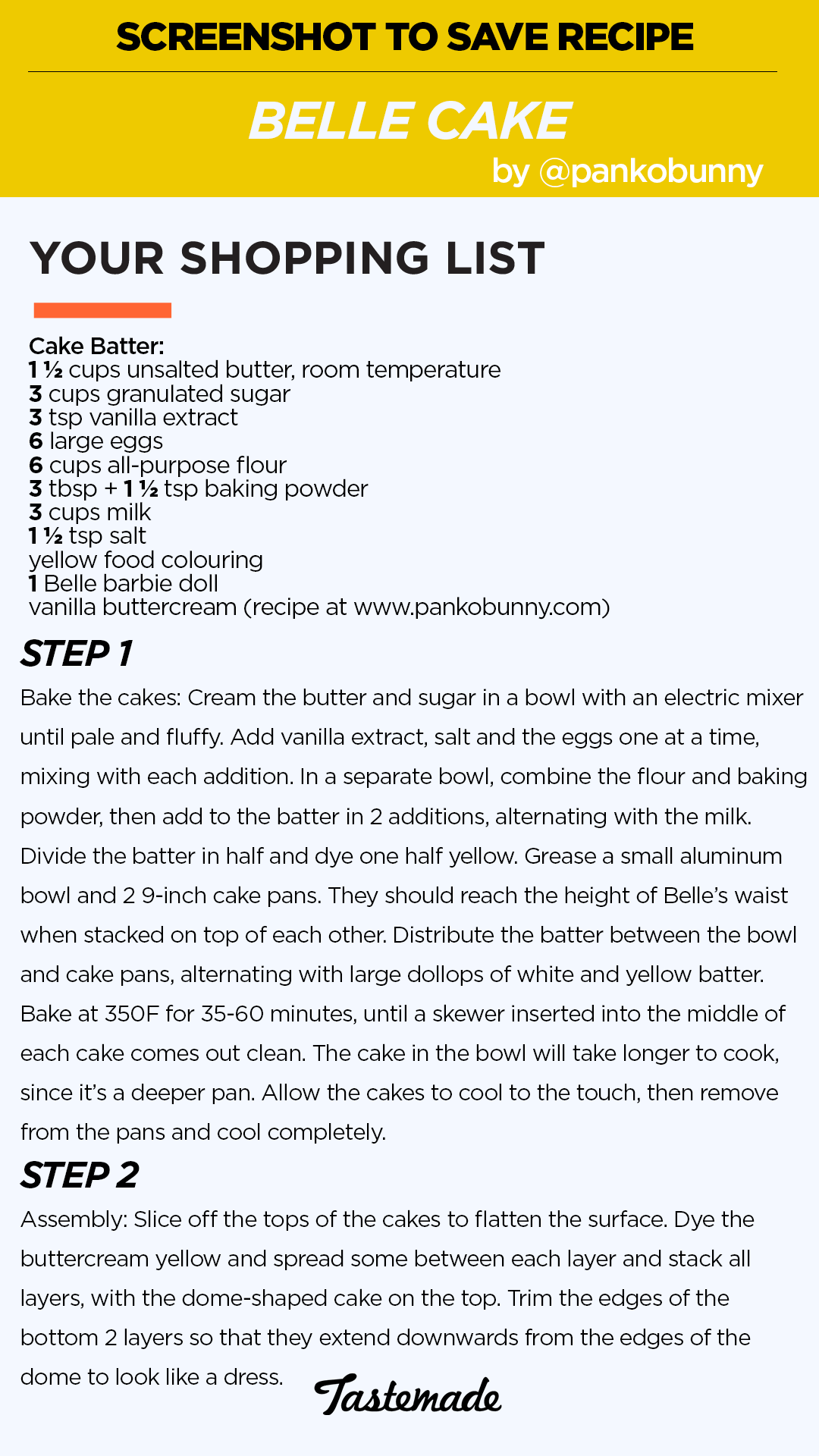 How to divide cake recipe in half