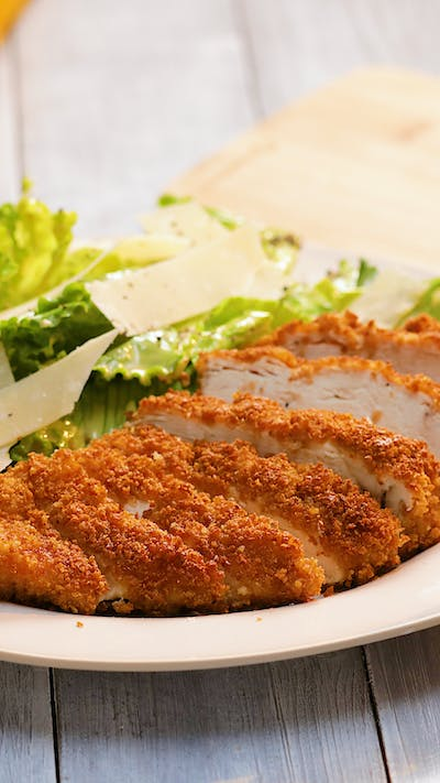 Crouton Crusted Chicken and Caesar Salad