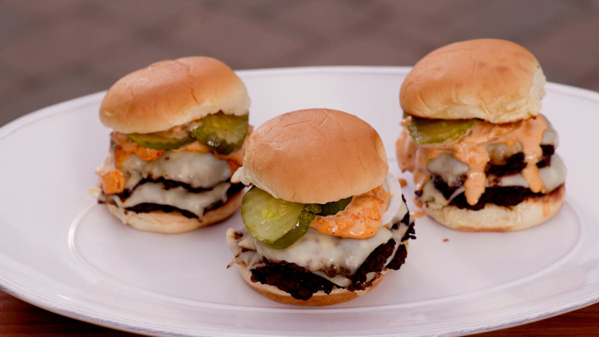 Galbi Smash Double Cheeseburger with Kimchi Special Sauce Image