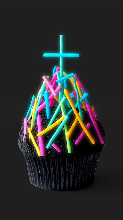 Neon Grave Yard Cupcakes