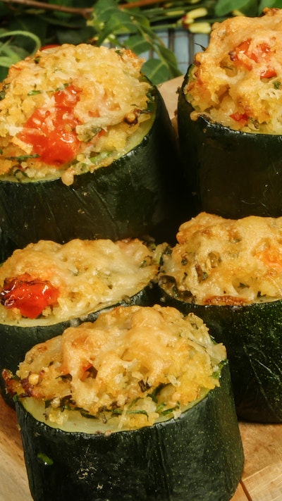 Filled Zucchini With Bulgur and Vegetables