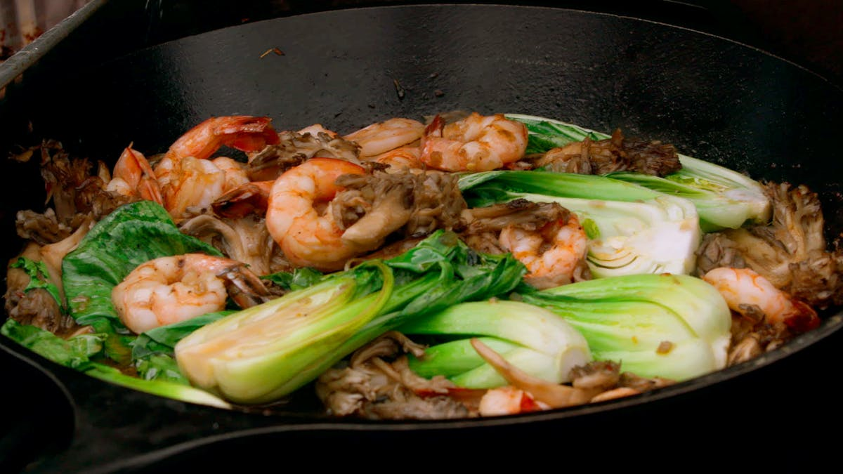 Bok Choy, Spicy Shrimp, and Hen of the Woods Mushrooms Image