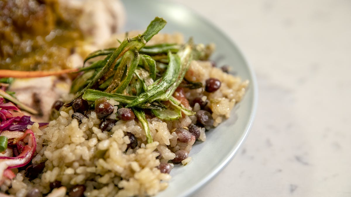 Pigeon Peas and Rice with Grated Tomato and Fried Okra Image