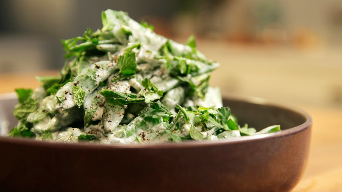 Pea Salad with Crème Fraiche and Mint Image
