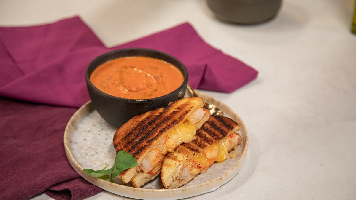 Lobster Grilled cheese sandwich w/ Tomato Bisque Image
