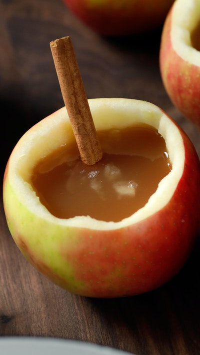 Boozy Apple Cider in Apple Cups