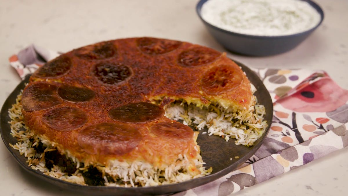 Potato Tahdig Rice with Meat & Herb Filling Image