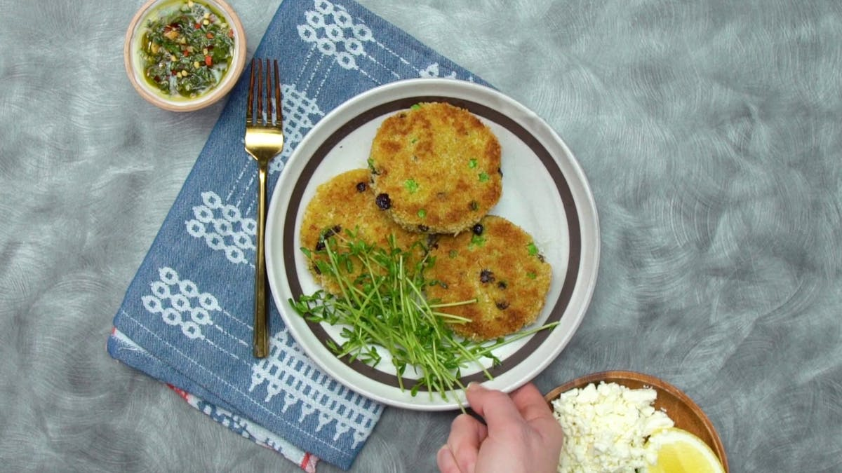 Moroccan Spiced Potato Cakes with Mint Chimichurri Image