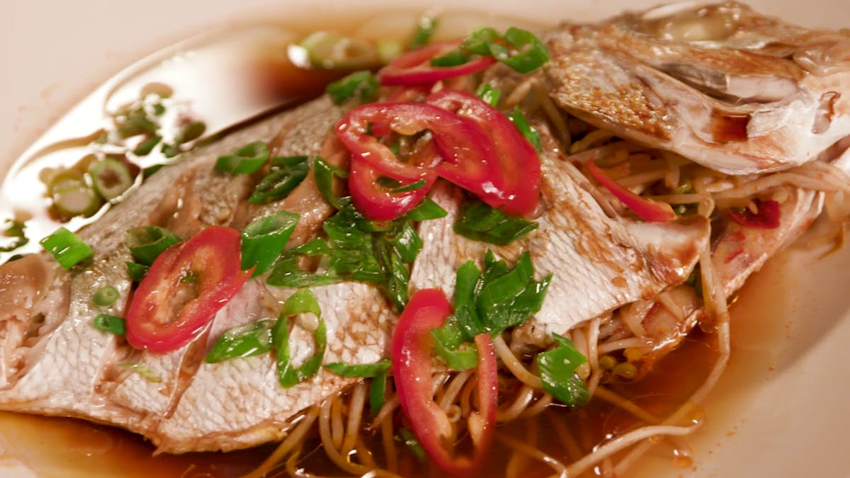 Whole Steamed Red Snapper with Bean Sprouts Image
