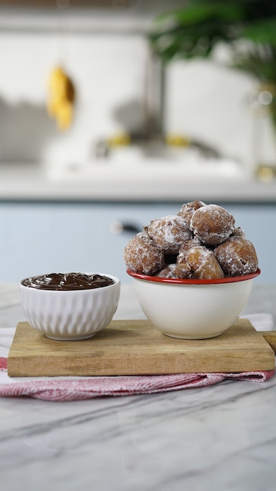 Carrot Cake Beignets with Chocolate Sauce