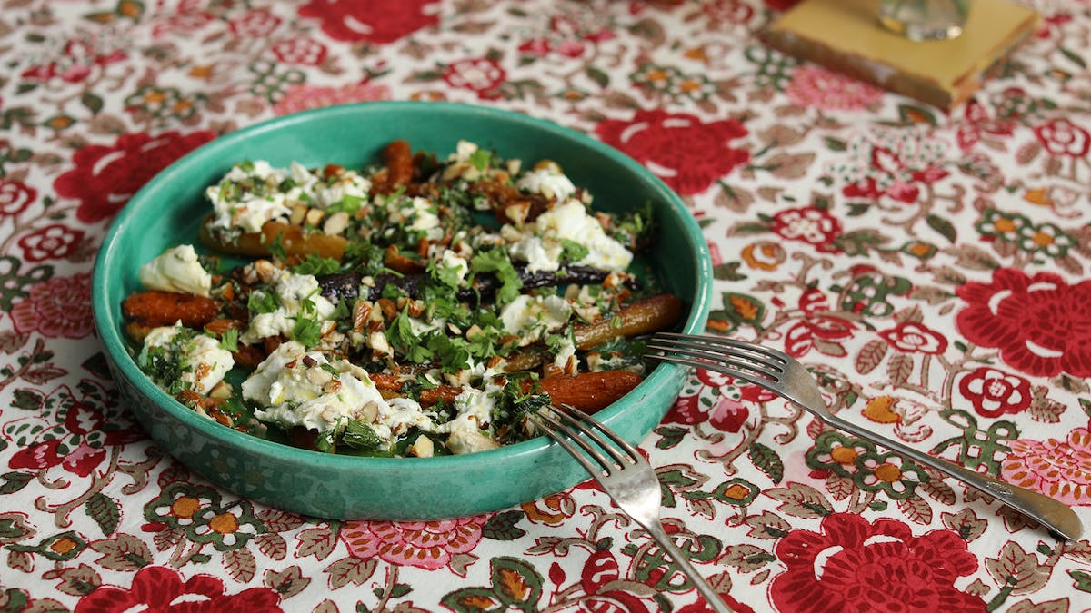 Honey-Roasted Carrots with Torn Burrata and Salsa Rustica  Image