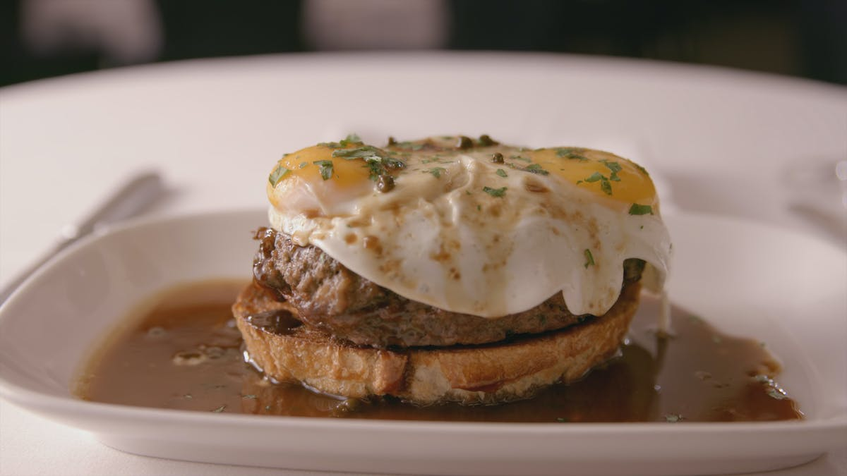 Chopped Sirloin with Green Peppercorn and Fried Egg  Image