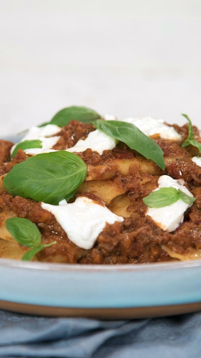 Hand Torn Pasta With Mushroom Bolognese