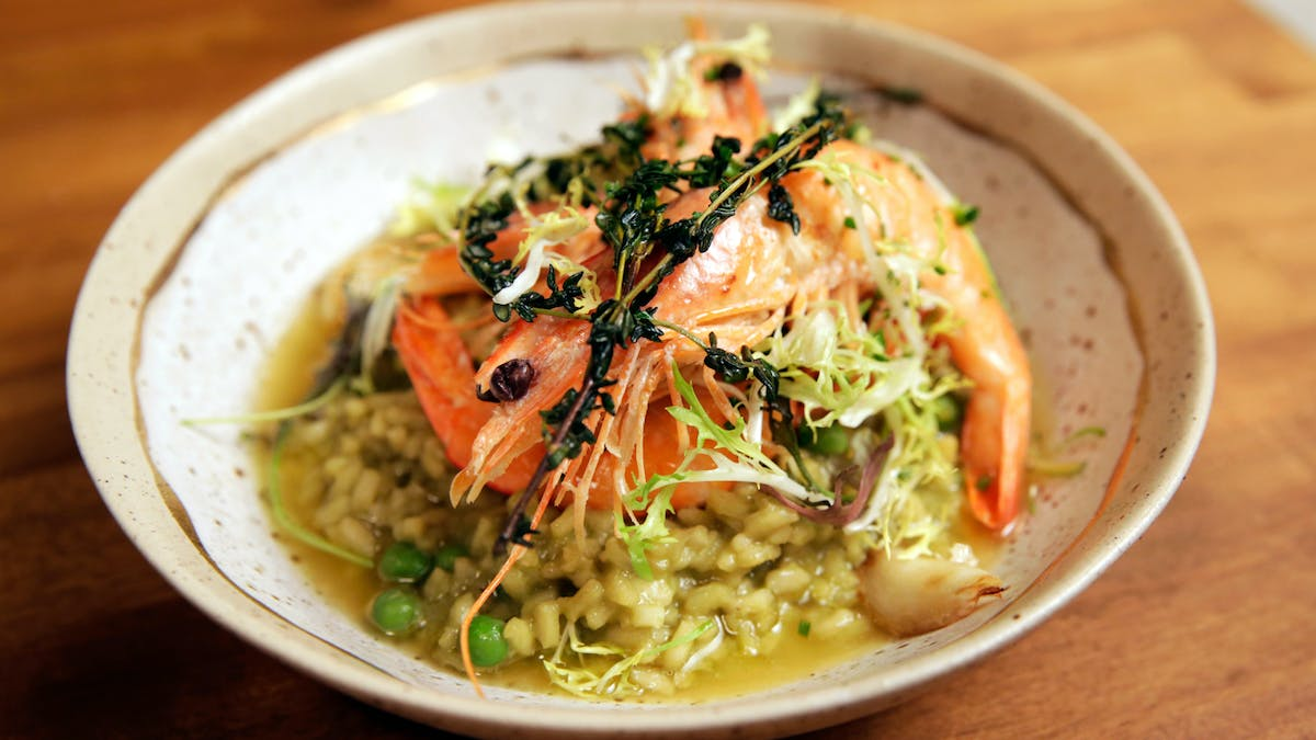 Creamy Sweet Pea Risotto with Lemon Herb Prawns Image