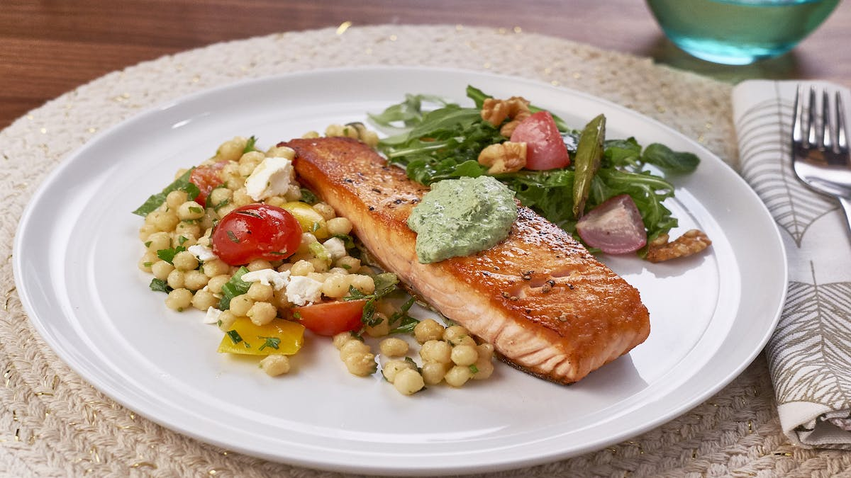 Seared Salmon with Goat Cheese Herb Sauce Image