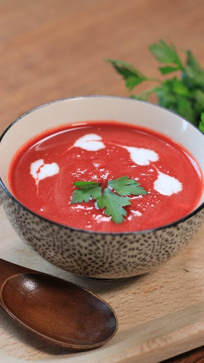 Coconut, beet & sweet potato soup
