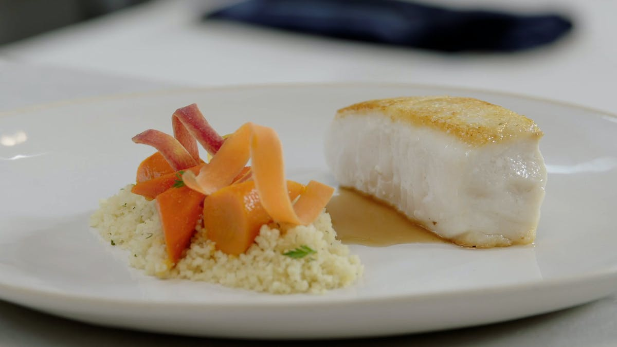 Halibut with Glazed Carrots, Couscous and Lime Image