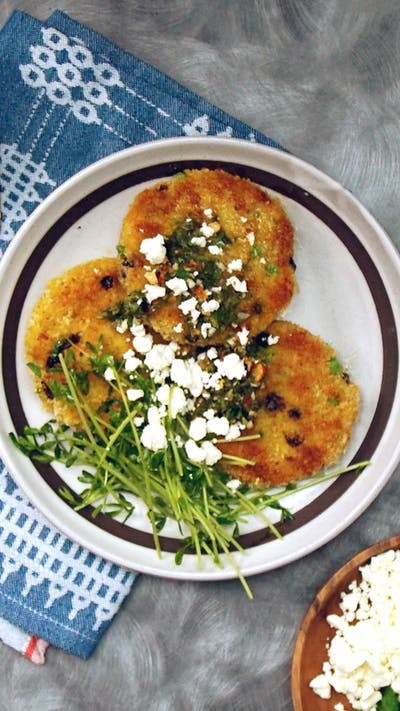 Moroccan Spiced Potato Cakes with Mint Chimichurri
