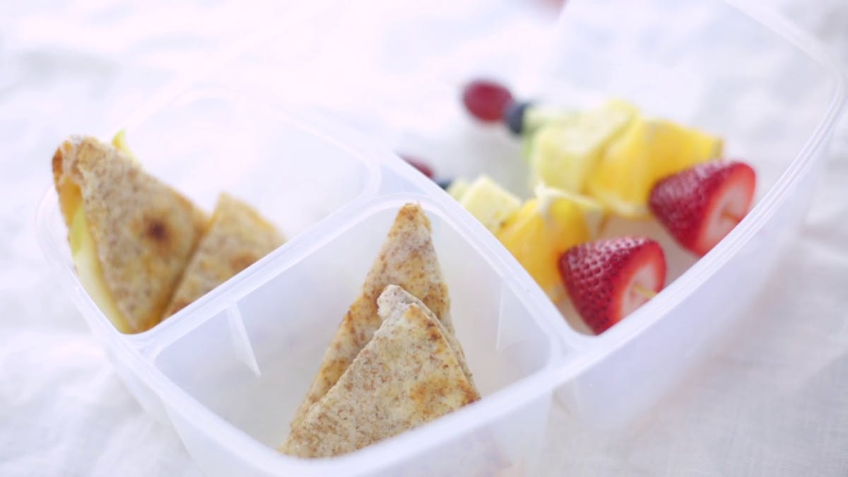 Fruit Skewers with a Whole Wheat Quesadilla Image