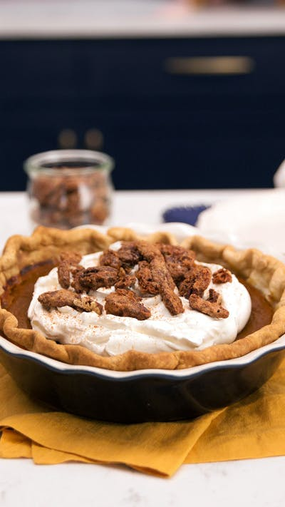 Sour Cream Sweet Potato Pie with Candied Nuts