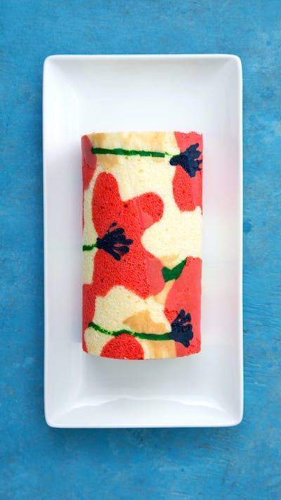 Strawberries and Cream Floral Roll Cake