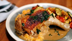 Poached and Pan Seared Chicken W Mushroom Sauce, Mashed Turnips, and Roasted Squash Image