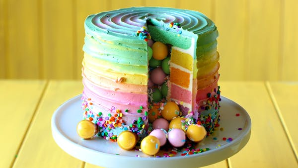 Rainbow Candy Surprise Cake Recipe Tastemade