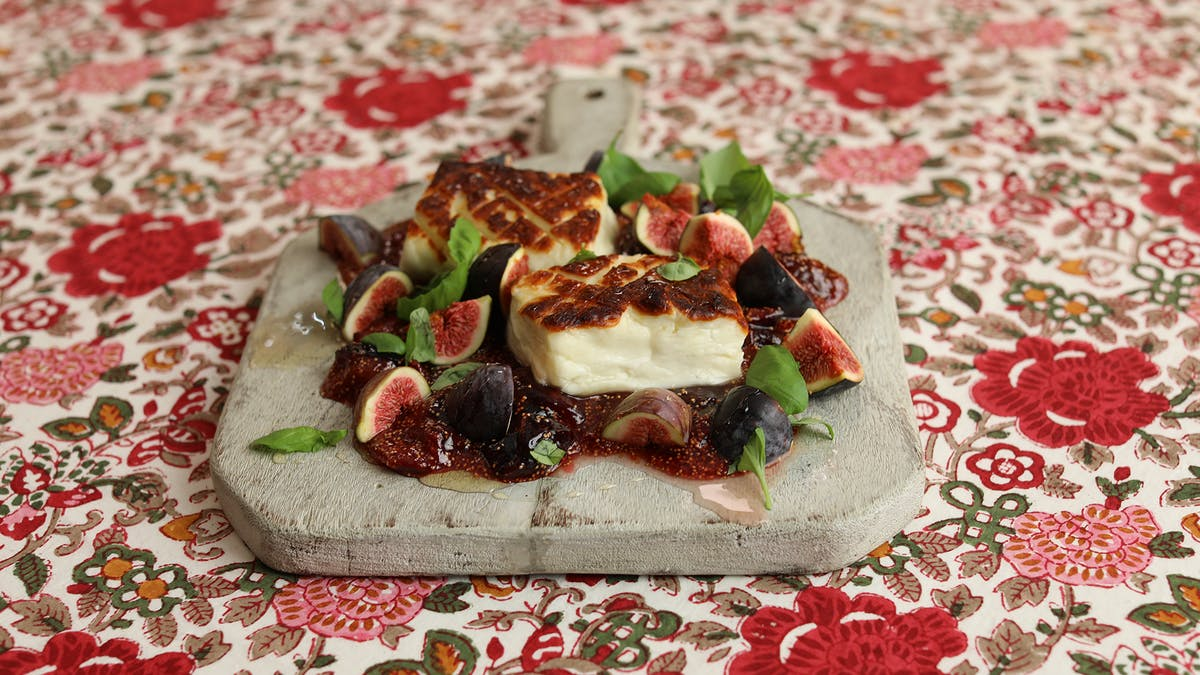 Grilled Whole Halloumi with Fig Jam Image