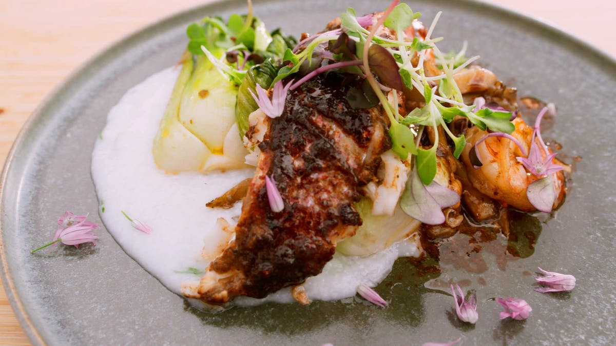 Whole Roasted Fish with Citrus Black Bean Brown Butter Sauce Image