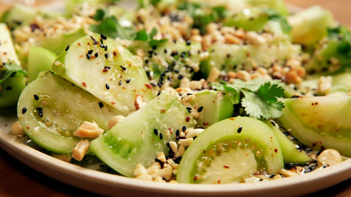 Green Tomato Salad with Sesame Seeds and Peanuts Image