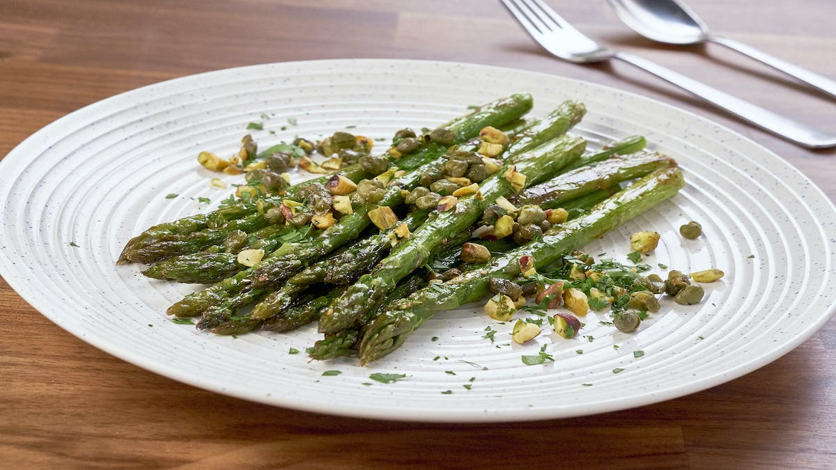 Roasted Asparagus With Crispy Capers and Pistachios Image