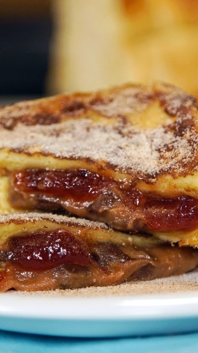 Ooey PBJ Chocolate filled french toast pockets.