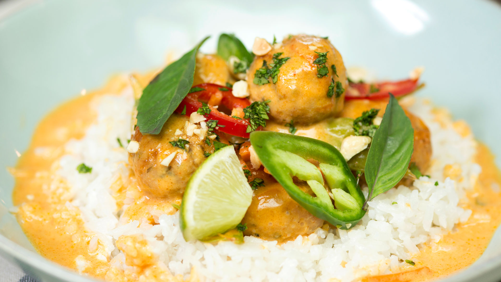 Thai chicken meatball curry with coconut rice recipe tastemade forumfinder Gallery