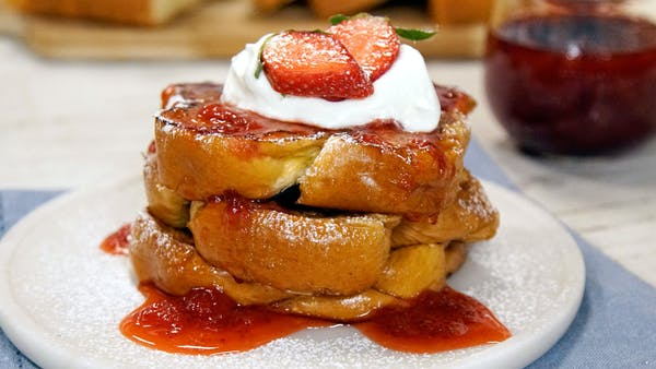 French Toast With Strawberry Syrup Recipe Tastemade