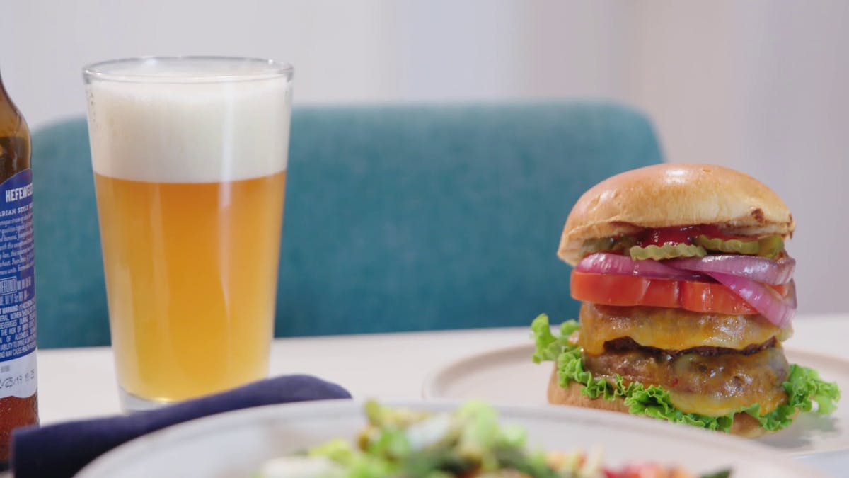 Grilled Vegetarian Cheeseburger with Grilled Onions Image