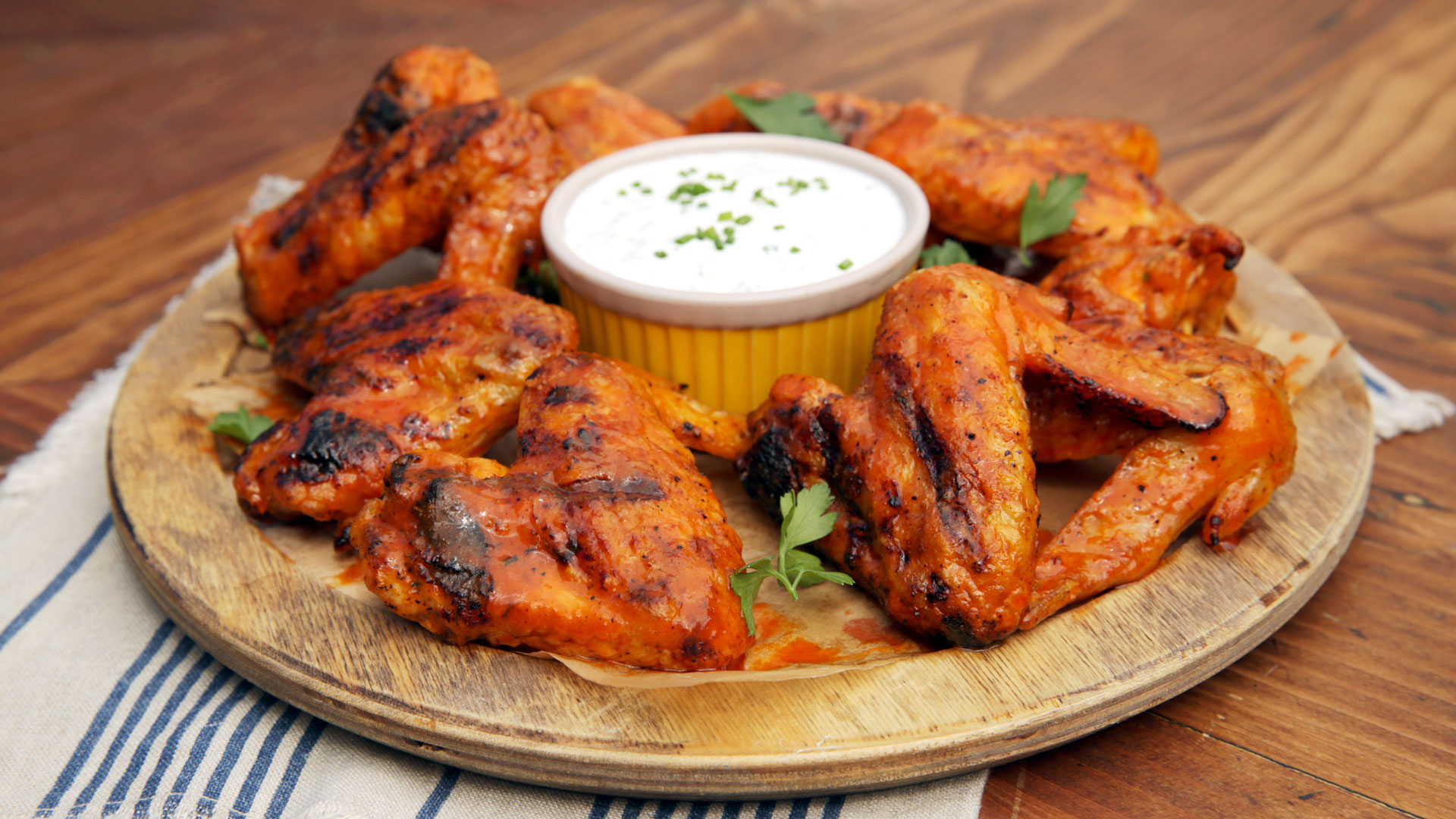 grilled spicy chicken wings with homemade ranch recipe