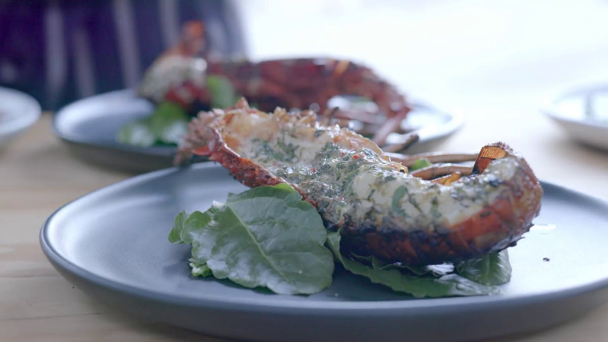 BBQ'd Lobster with Salsa Verde Butter Image
