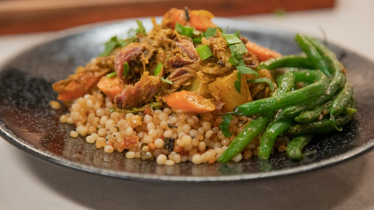 Quick Curry Lamb w/ Crispy CousCous and Haricot Vert Image