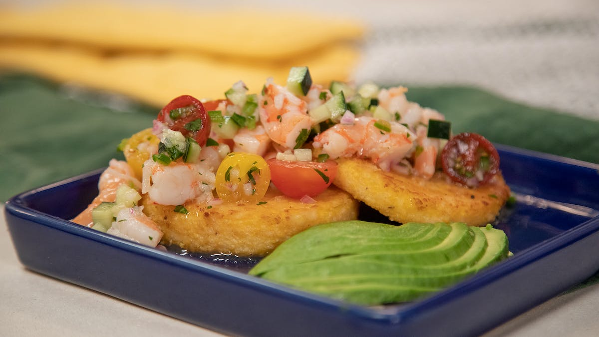 Fried Grit Cakes topped w/ Quick Shrimp Ceviche Image