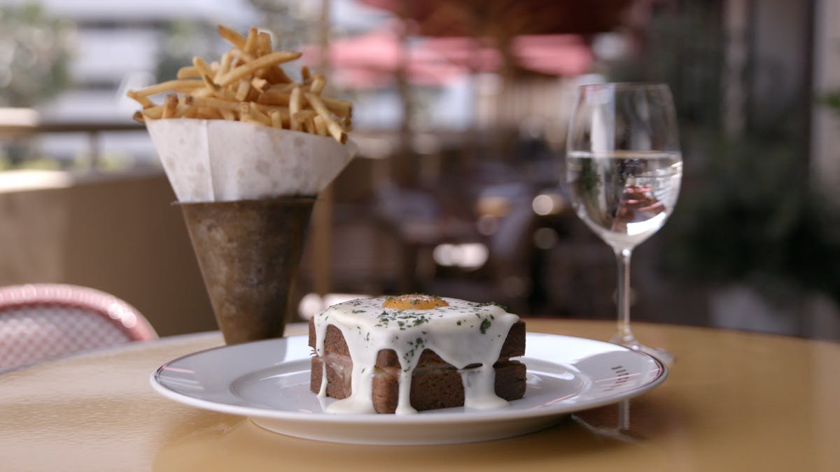 Croque-Madame with Mornay Sauce and Pommes Frites Image