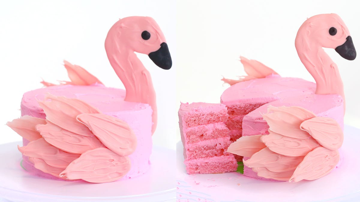 Superb Flamingo Brushstroke Cake Tastemade Personalised Birthday Cards Veneteletsinfo