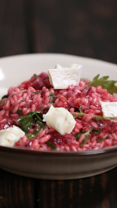 Beetroot, Goats Cheese & Rocket Risotto