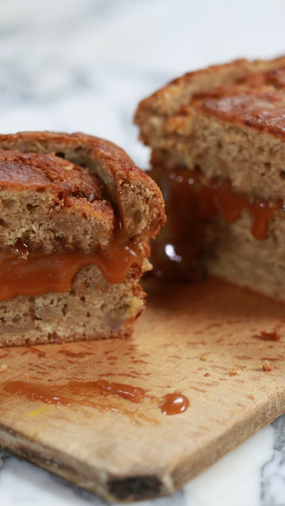 Banana Bread with Salted Caramel Centre